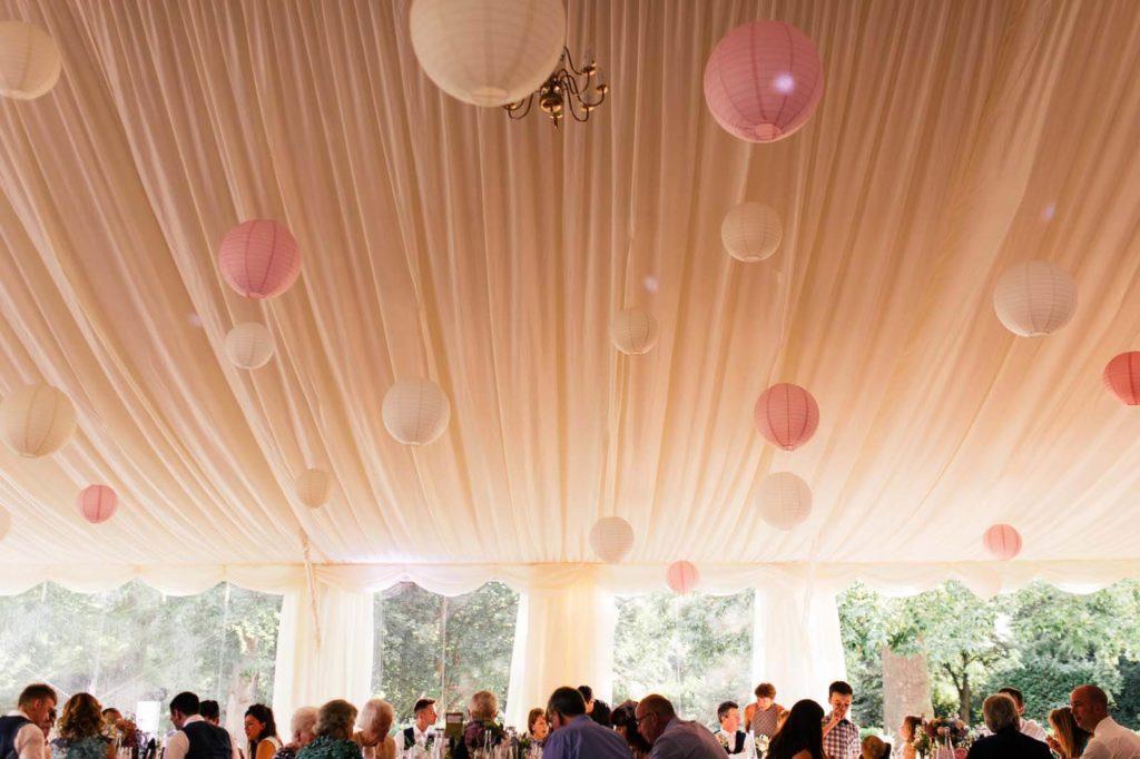 Marque Wedding with White & Pink Lanterns