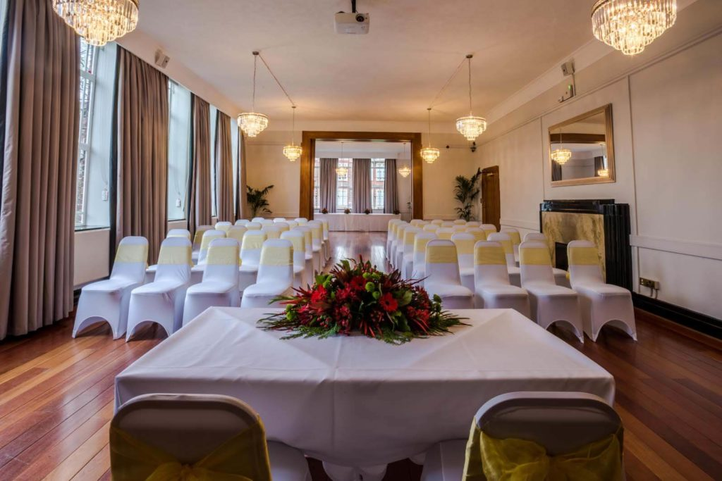 Wedding Venue with white and yellow decorations